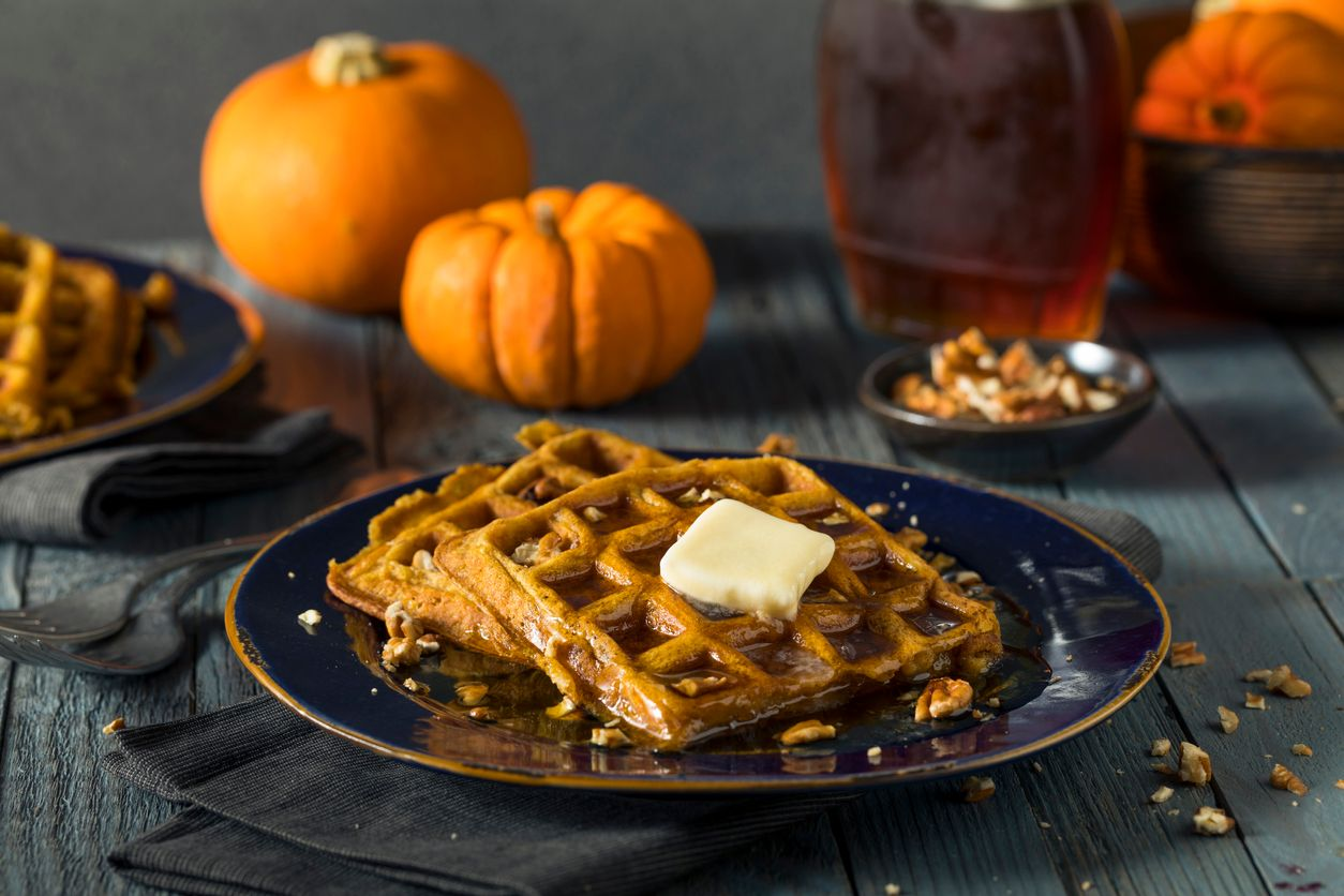Pumpkin pecan waffles made with cannabutter