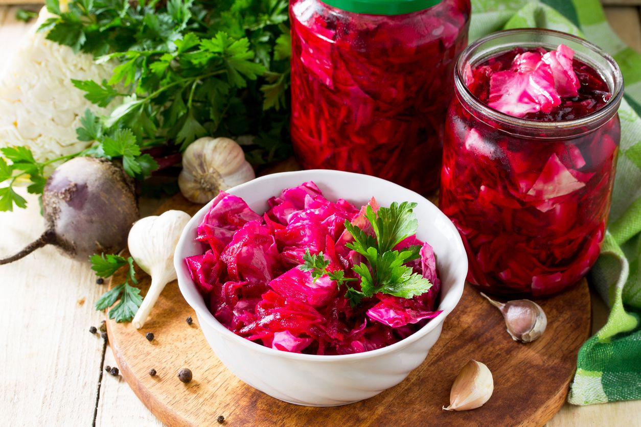 A bright red beetroot and cabbage salad recipe