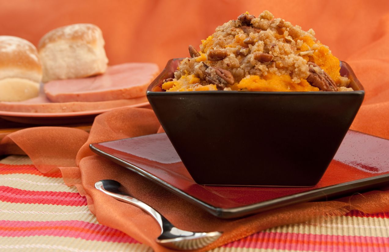 A hearty cheesy sweet potato casserole recipe with bacon and weed
