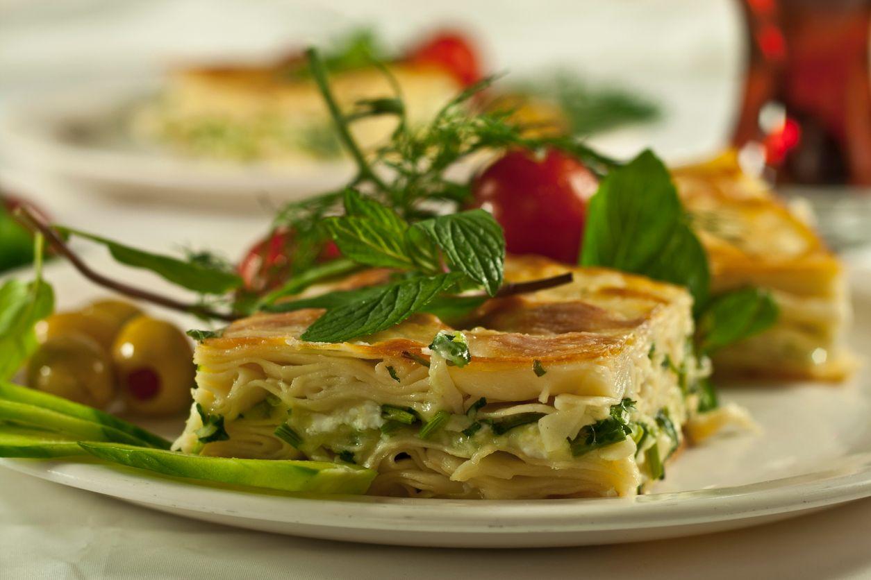A thick multilayer vegetarian lasagna recipe
