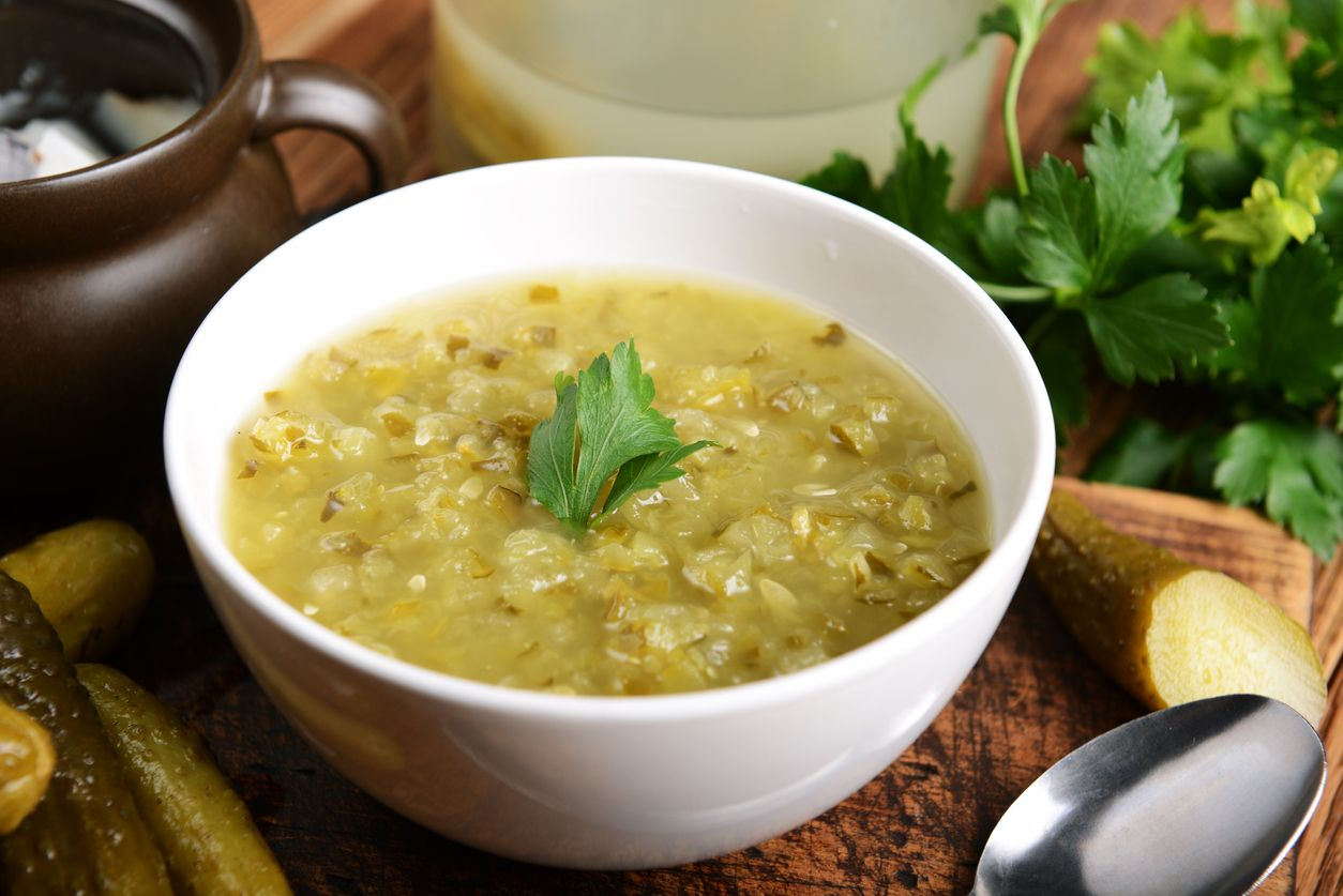 Dill pickle soup with potato and cannabutter