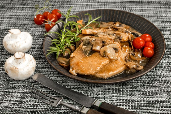 Cannabisinfused baked pork chops with mushroom soup