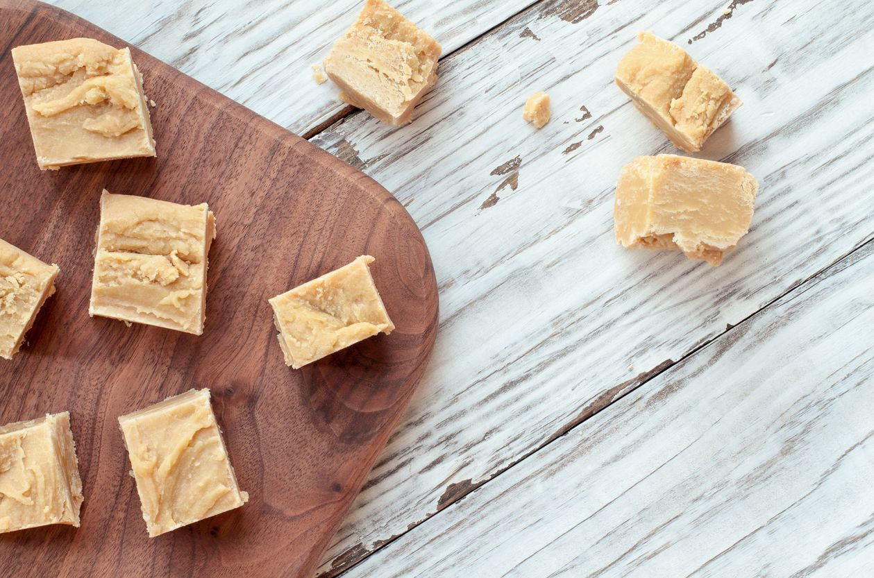 Peanut cannabutter fudge squares with MMs