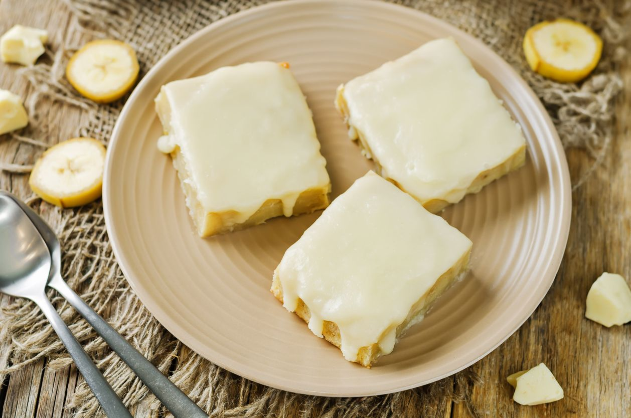 Sweet and chewy frosted banana bars