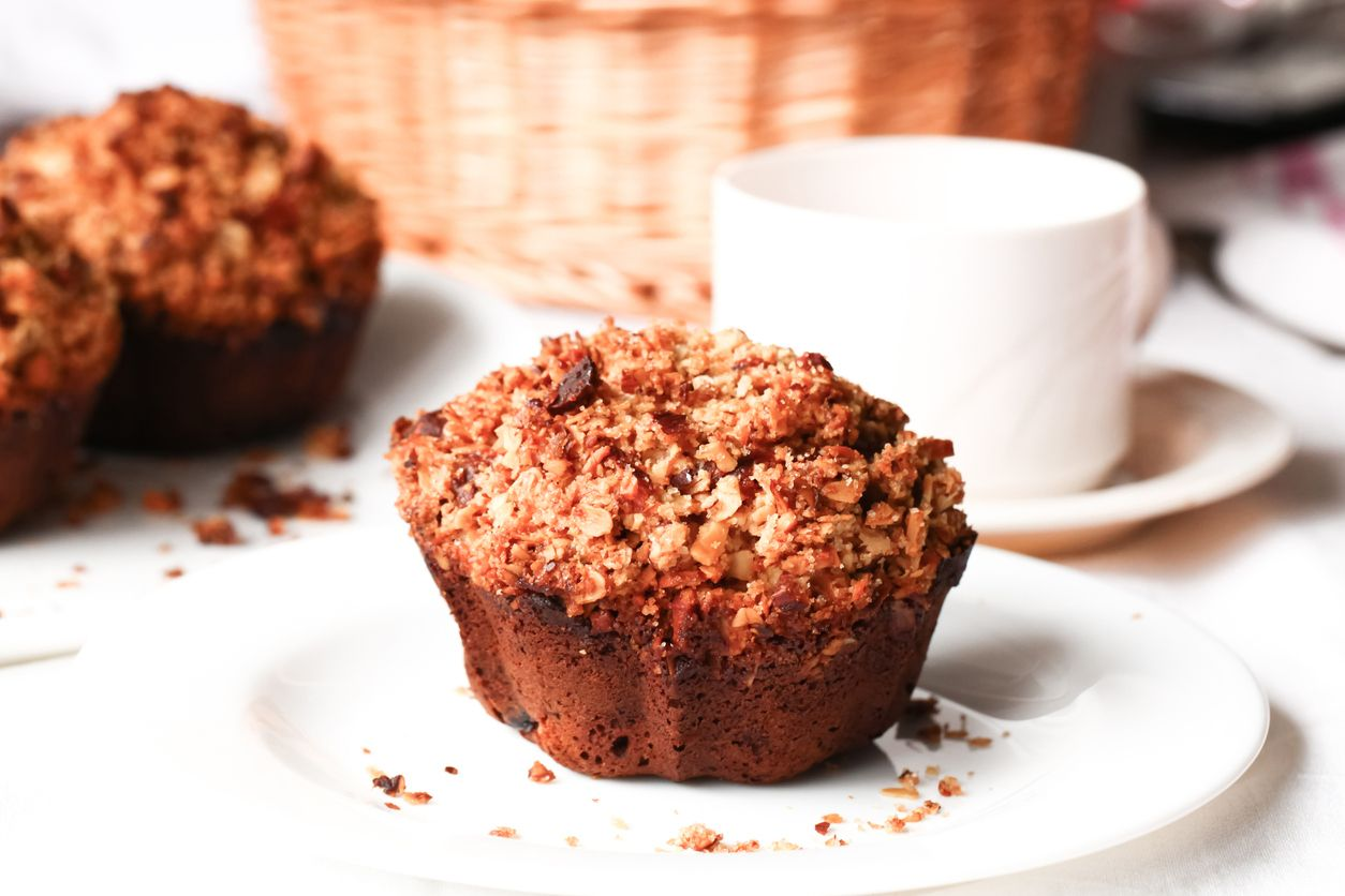 Vegan banana crumb muffins with weed