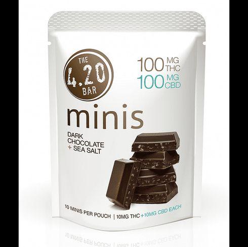 feature image 4.20Bar: Chocolate Minis CBD 1:1 200mg, Dark Sea Salt