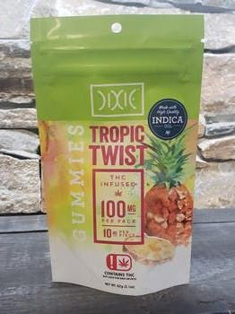 feature image 100Mg Dixie Tropic Twist Gummies Indica