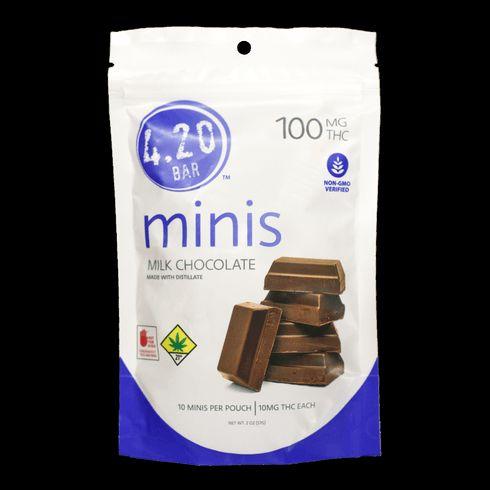 feature image 4.20 Mini Bars: 100mg THC Milk Chocolate