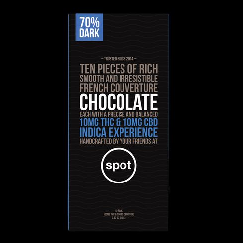 feature image 10:10 THC/CBD- Dark Chocolate INDICA (spot) 10pk