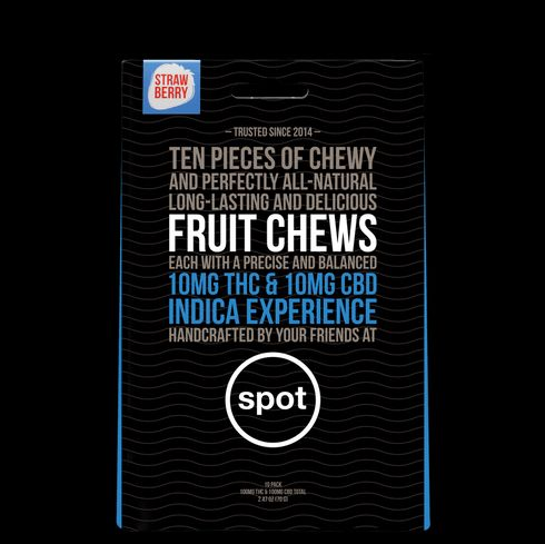feature image 10:10 THC/CBD- Strawberry Fruit Chew INDICA (spot) 10pk