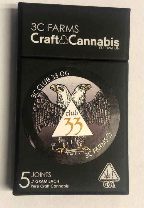 feature image 3C Farms | Preroll 5-Pack - Club 33