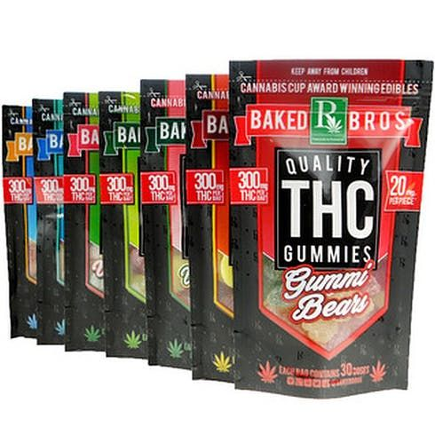 feature image Baked Bros - 150mg Sour Gummi Bears INDICA