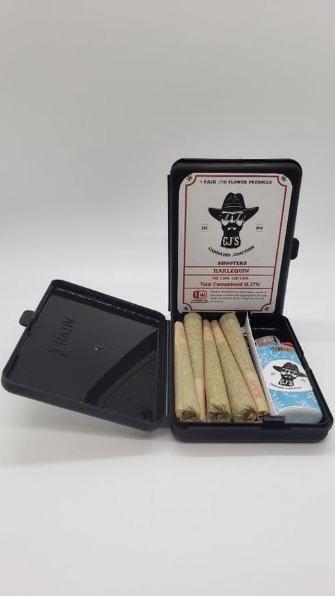 feature image CJ's Shooters 5pk .75g Prerolls - Harlequin