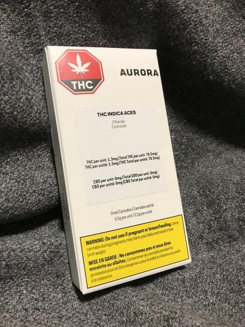 feature image 2X0.5 Gram THC Aurora Aces Prerolls (Indica)