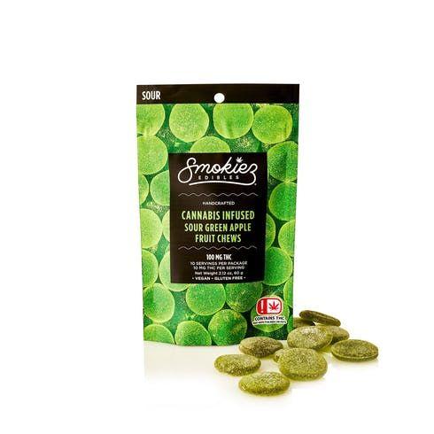 feature image  Smokiez Sour Green Apple - Fruit Chew - 100mg
