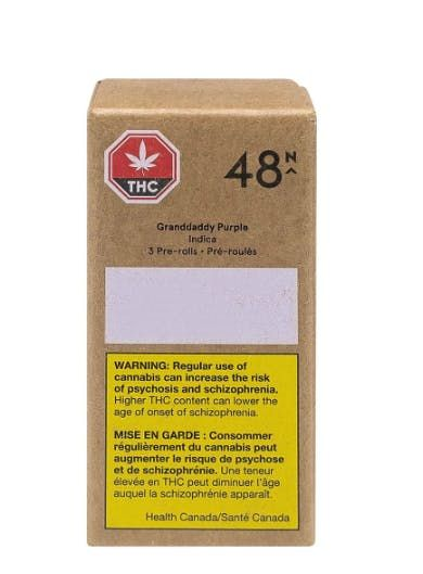 feature image 48North - Granddaddy Purple Pre-Roll 3 PACK - Indica Pre Roll 3x0.35g - 18%THC