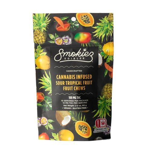 feature image Dover - Smokiez - Edibles - Sour Tropical  Fruit Chews 100mg - 10pk of 10mg pieces