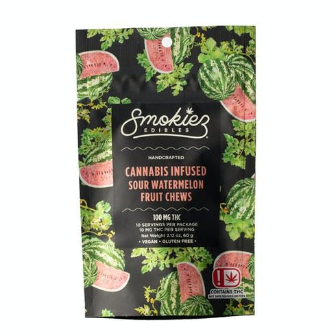 feature image Dover - Smokiez - Edibles - Sour Watermelon  Fruit Chews 100mg - 10pk of 10mg pieces