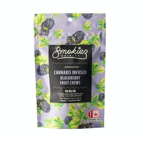 feature image Dover - Smokiez - Edibles - Blackberry Fruit Chews 100mg - 10pk of 10mg pieces