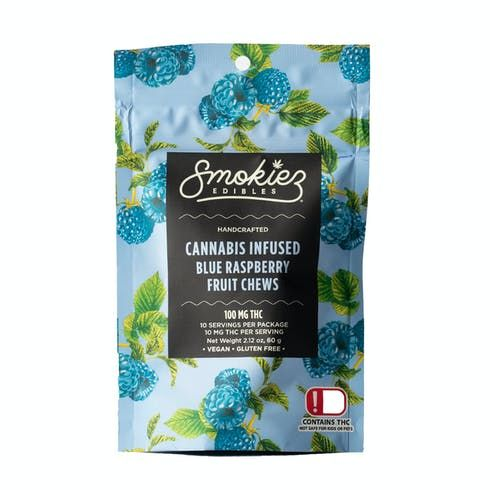 feature image Dover - Smokiez - Edibles - Blue Raspberry Fruit Chews 100mg - 10pk of 10mg pieces