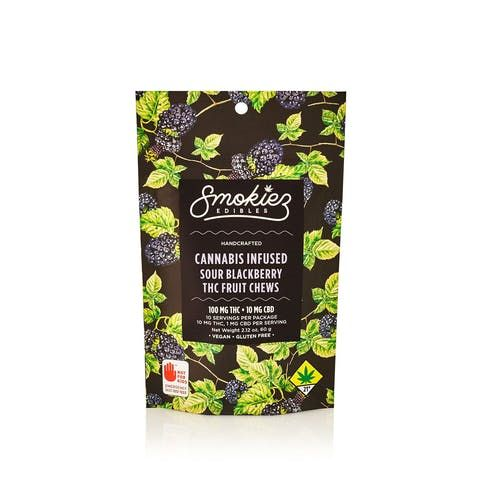 feature image Dover - Smokiez - Edibles - Sour Blackberry Fruit Chews 100mg - 10pk of 10mg pieces
