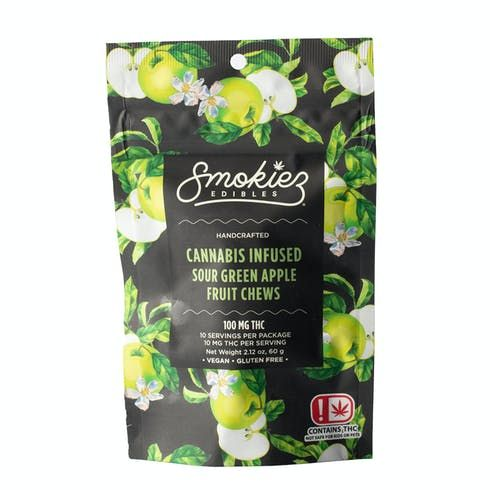 feature image Dover - Smokiez - Edibles - Sour Green Apple Fruit Chews 100mg - 10pk of 10mg pieces