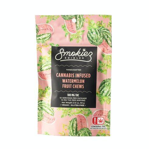 feature image Dover - Smokiez - Edibles - Watermelon Fruit Chews 100mg - 10pk of 10mg pieces