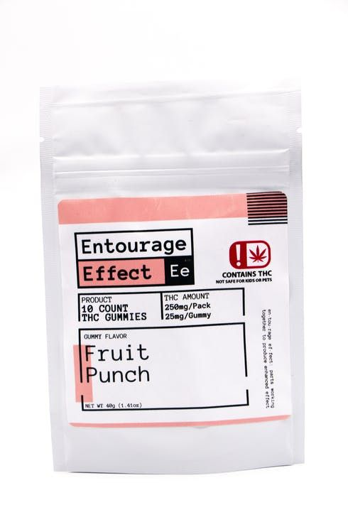 feature image Edible - Entourage Effect - 25mg THC Fruit Punch Gummy 10ct - 40g Net