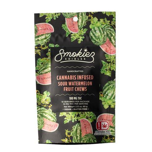 feature image Dover - Smokiez - Edibles - Sour Watermelon  Fruit Chews 100mg - 10pk of 10mg pieces