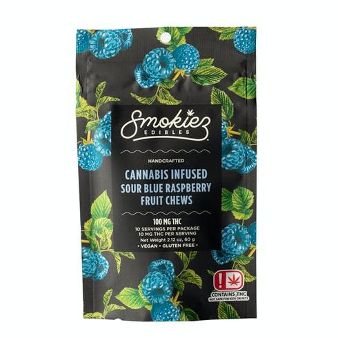 feature image Dover - Smokiez - Edibles - Sour Blue Raspberry Fruit Chews 100mg - 10pk of 10mg pieces