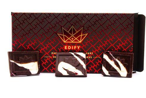 feature image Edify - Edibles - 200mg THC Dark Chocolate Bar with Raspberry Swirl 10pcs, 20mg per - 85g Net
