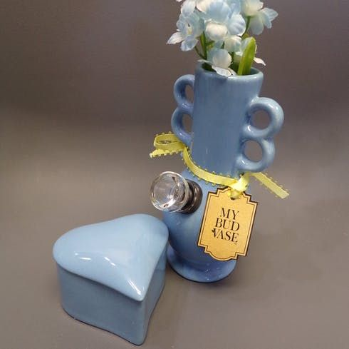 """feature image """"Lady Humps"""" Vase Bong and heart stash jar (price includes tax)"""