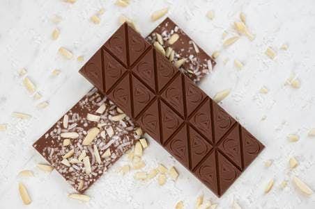 feature image Almond Coconut Sea Salt Milk Chocolate Bar