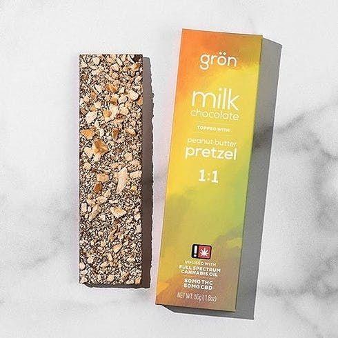 feature image 1:1 Milk Chocolate Peanut Butter Pretzel 100mg by Grön