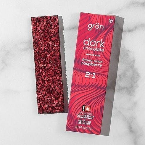 feature image 2:1 Dark Chocolate Raspberry Bar 75mg