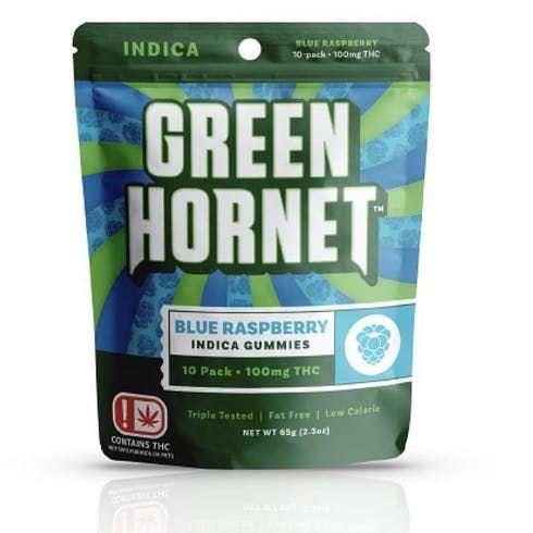 feature image Green Hornet Blue Raspberry Indica Gummies