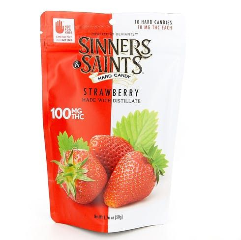 feature image  Sinners & Saints Strawberry Hard Candies 10-Pack 100mg