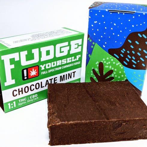 feature image (1:1) Chocolate Mint Fudge 50mg THC / 50mg CBD (Net.Wt.3.5oz/100g)