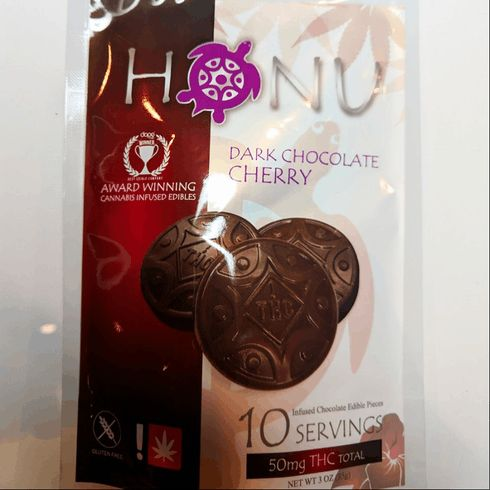 feature image !Honu 50mg Edible - Dark Chocolate Cherry - Green Leaf Special