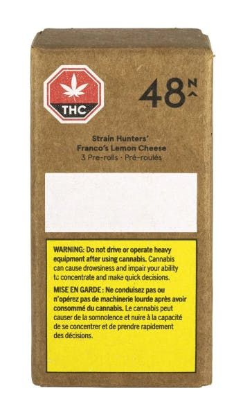 feature image 48 North - Strain Hunters' Franco's Lemon Cheese Pre-Roll 3 x 0.5g
